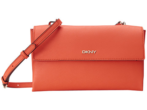 DKNY - Bryant Park - Saffia Double Flap Shoulder w/ Det Shoulder Strap (Orange) Shoulder Handbags