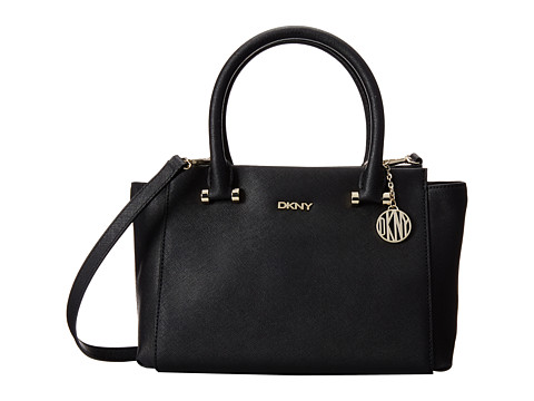 DKNY - Bryant Park - Saffia Small Satchel w/ Det SS (Black 1) Satchel Handbags