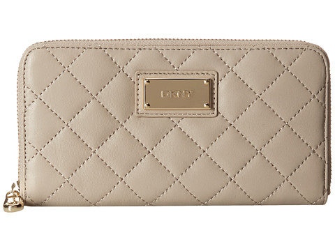 DKNY - Gansevoort Quilted Nappa Large Zip Around (Cement) Wallet
