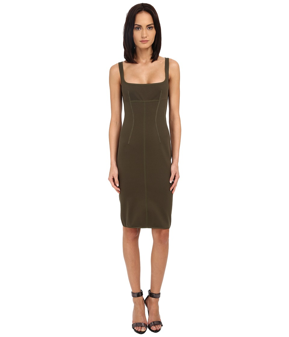DSQUARED2 - Compact Cotton Jersey Dress (Military Green) Women's Dress