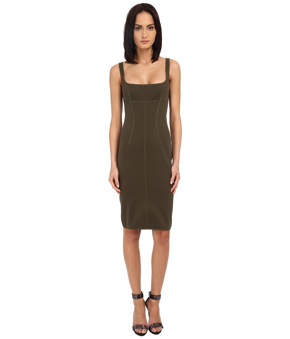 DSQUARED2 - Compact Cotton Jersey Dress (Military Green) Women's Dress