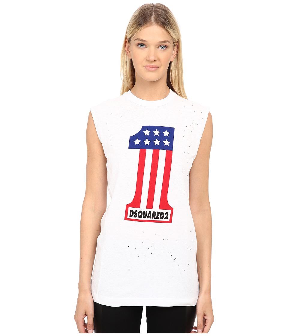 DSQUARED2 - Long Cool Twisted T-Shirt (White) Women's T Shirt