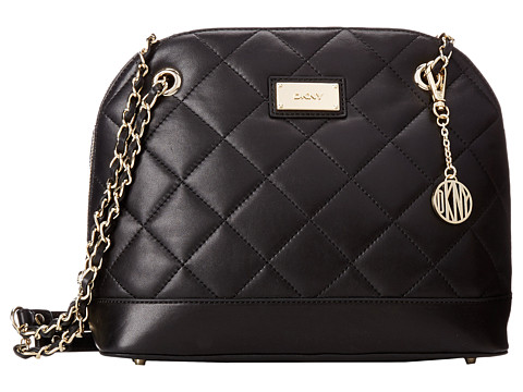 DKNY - Gansevoort - Quilted Medium Round Satchel Crossbody w/ Adjustable Chain Handle (Black) Cross Body Handbags