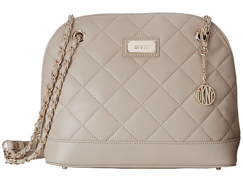 DKNY - Gansevoort - Quilted Medium Round Satchel Crossbody w/ Adjustable Chain Handle (Cement) Cross Body Handbags