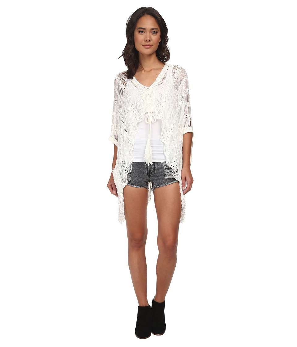 Gabriella Rocha - Hailey Crochet Fringe Poncho (Off White) Women's Sweater