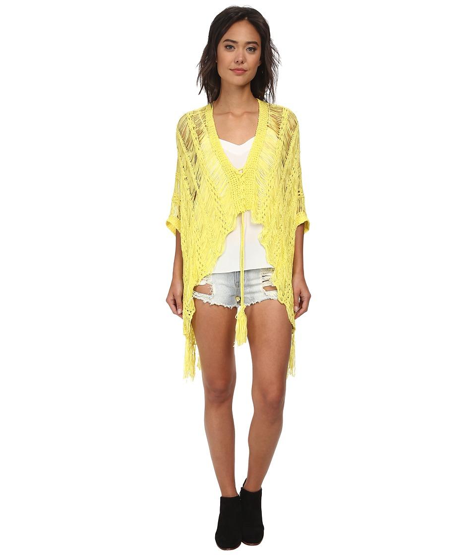 Gabriella Rocha - Hailey Crochet Fringe Poncho (Neon Lime) Women's Sweater