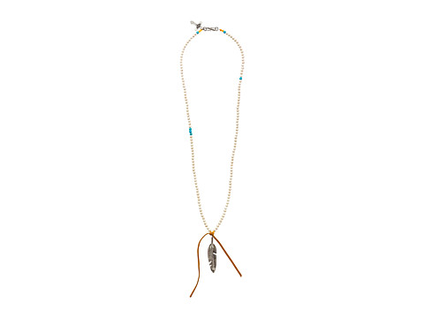 Gypsy SOULE - Beaded Necklace w/ Feather Pendant (White) Necklace