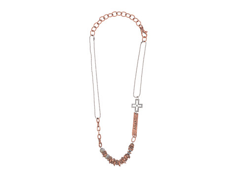 Gypsy SOULE - Mixed Metal Chain and Beaded Necklace w/ Cross (Copper) Necklace