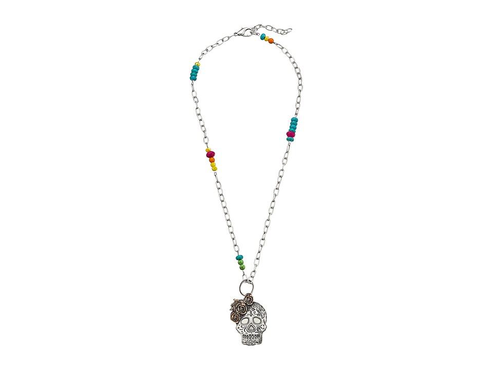 Gypsy SOULE - Beaded and Chain Sugar Skull Pendant Necklace (Silver) Necklace