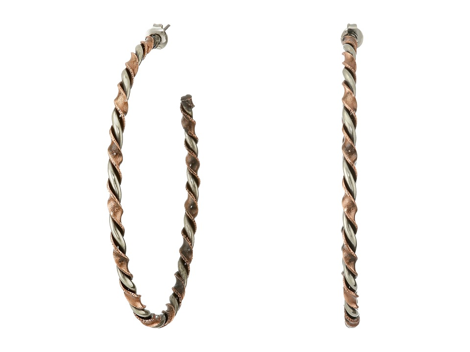 Gypsy SOULE - Twisted Hoop Stud Post Earrings (Copper/Silver) Earring