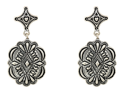 Gypsy SOULE - Diamond Shaped Filagree Stud Concho Dangle Earrings (Silver) Earring