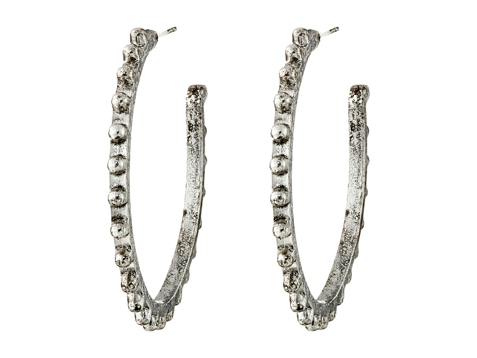 Gypsy SOULE - Mixed Metal Studded Hoop Earrings (Silver) Earring