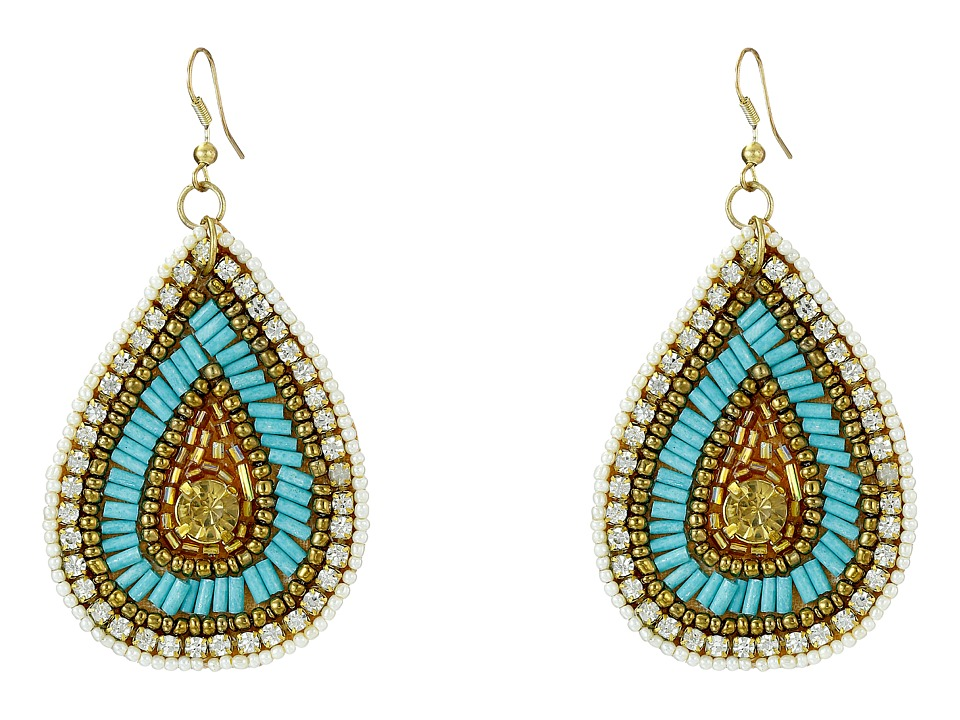 Gypsy SOULE - Seed Beaded Teardrop Earrings (Turquoise/Gold/Clear) Earring