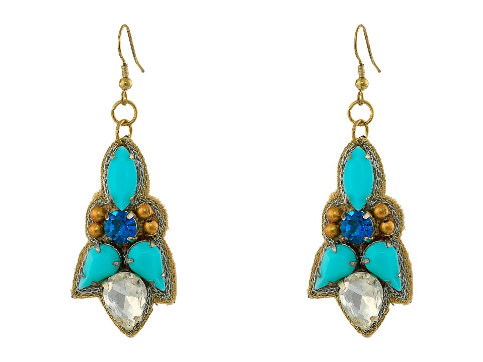 Gypsy SOULE - Stone Statement Dangle Earrings (Turquoise/Gold) Earring