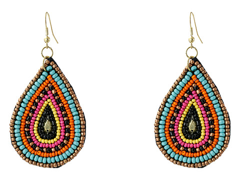 Gypsy SOULE - Seed Beaded Teardrop Earrings (Pink/Turquoise/Gold) Earring