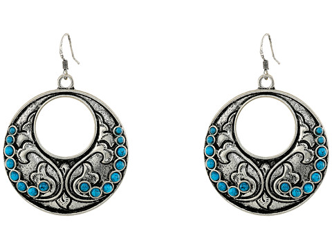 Gypsy SOULE - Fillagree Circular Earrings w/ Turquoise Stones (Silver) Earring