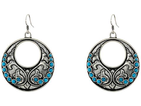 Gypsy SOULE - Fillagree Circular Earrings w/ Turquoise Stones (Silver) Earring