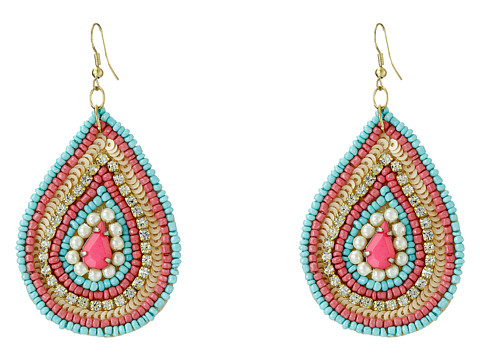 Gypsy SOULE - Seed Beaded Teardrop Earrings (Pink/Pearl/Turquoise) Earring