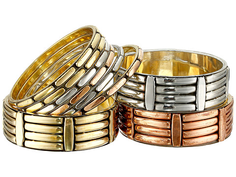 Gypsy SOULE - Wide Narrow 9 Bangle Set (Silver/Gold/Copper) Bracelet