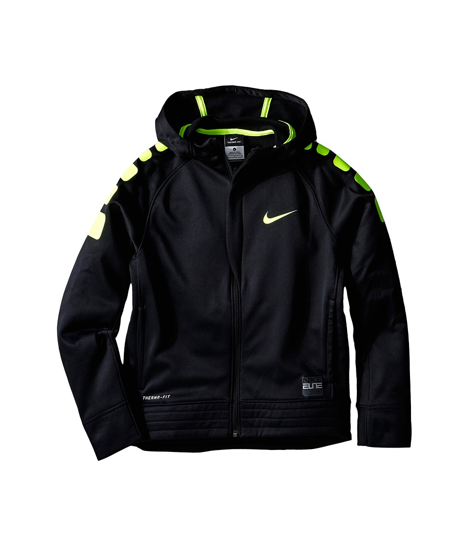 Nike Kids - Elite Stripe Hoodie (Little Kids/Big Kids) (Black/Volt/Volt/Volt) Boy's Sweatshirt