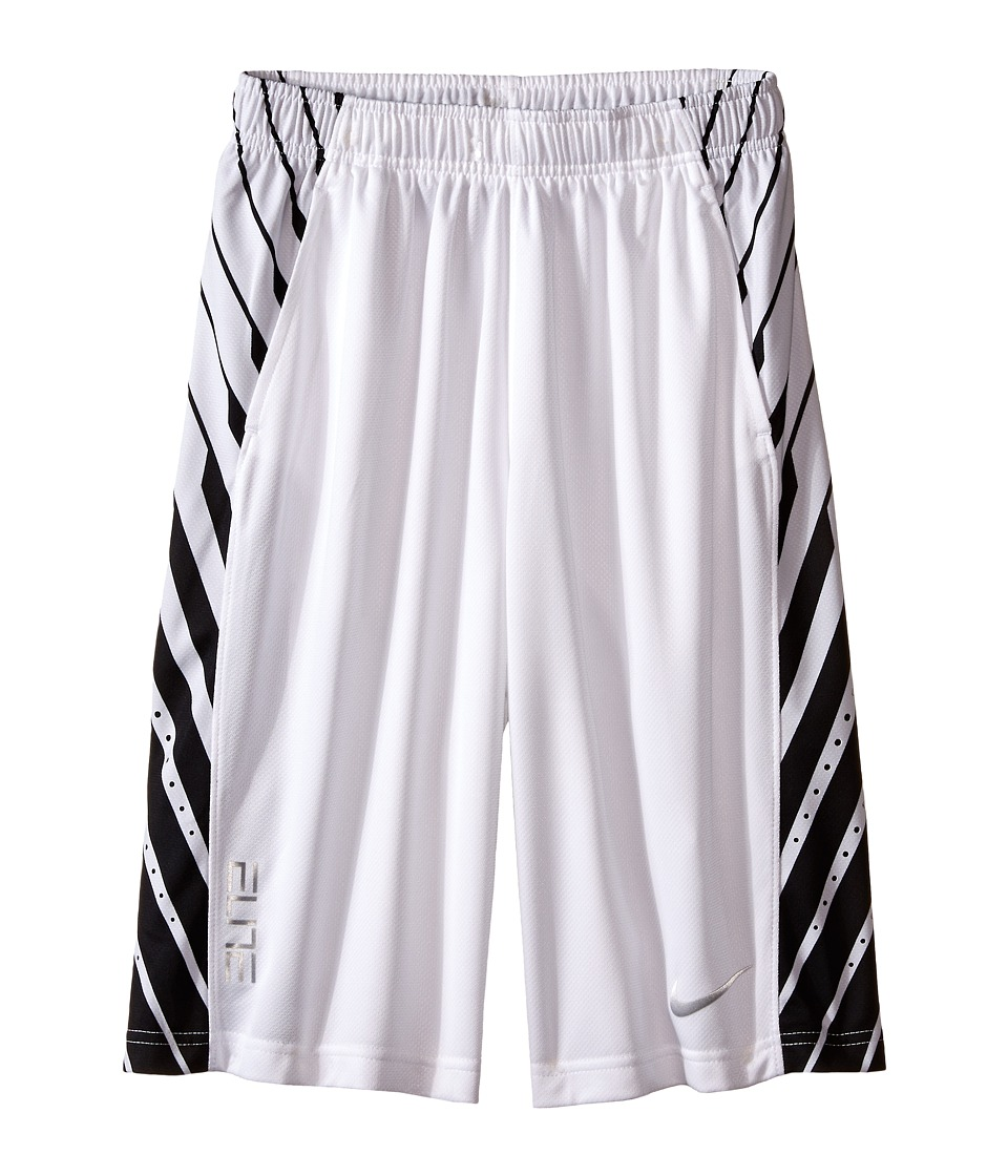 Nike Kids - Elite Powerup Shorts (Little Kids/Big Kids) (White/White/Black/Metallic Silver) Boy's Shorts
