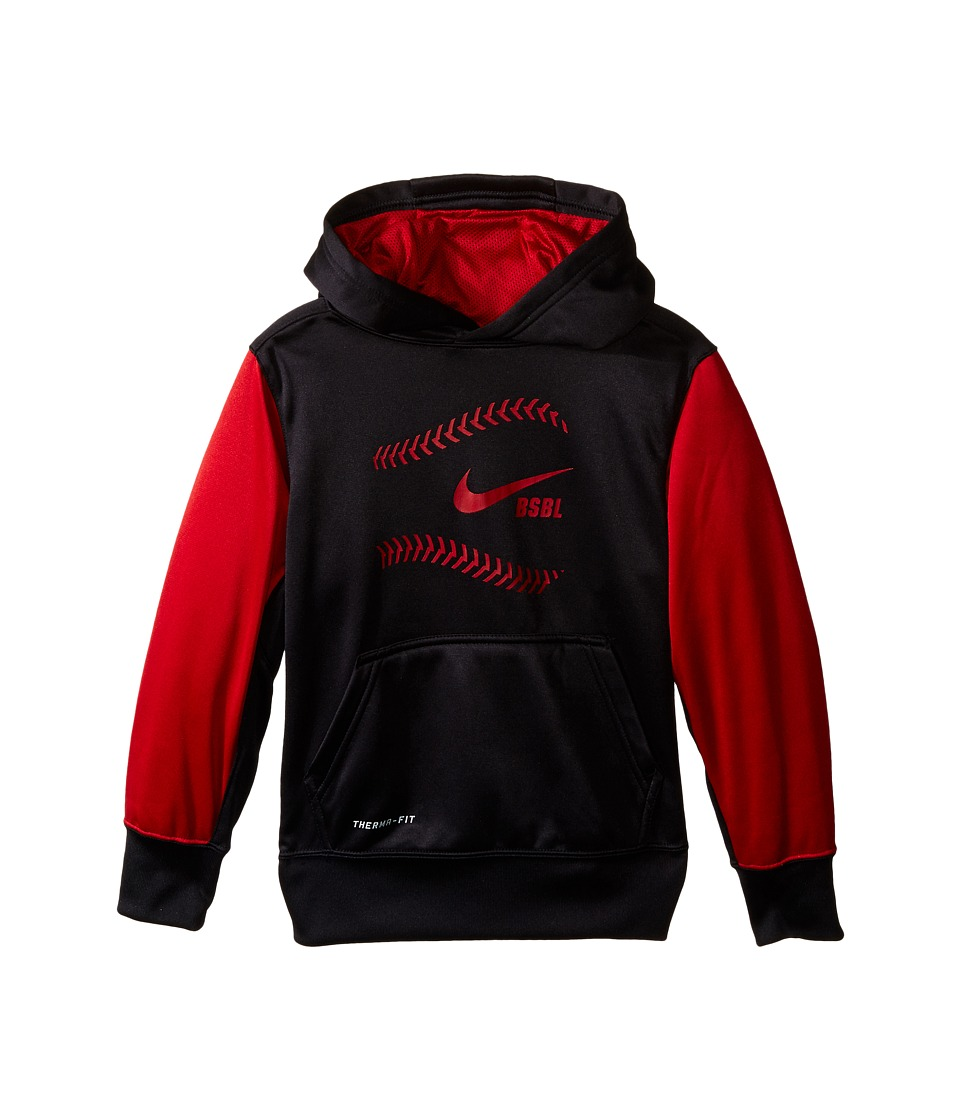 Nike Kids - KO Baseball Hoodie (Little Kids/Big Kids) (Black/Gym Red/Gym Red) Boy's Sweatshirt