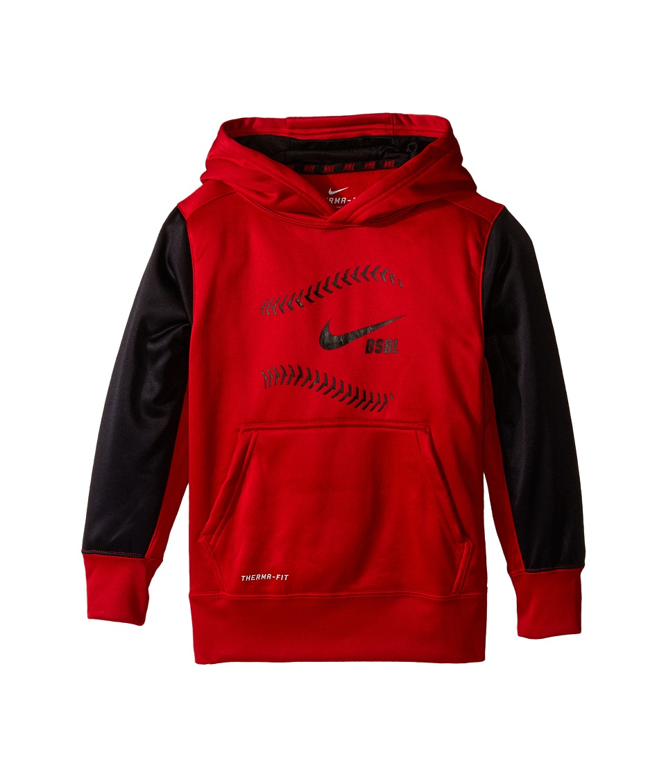 Nike Kids - KO Baseball Hoodie (Little Kids/Big Kids) (Gym Red/Black/Black) Boy's Sweatshirt