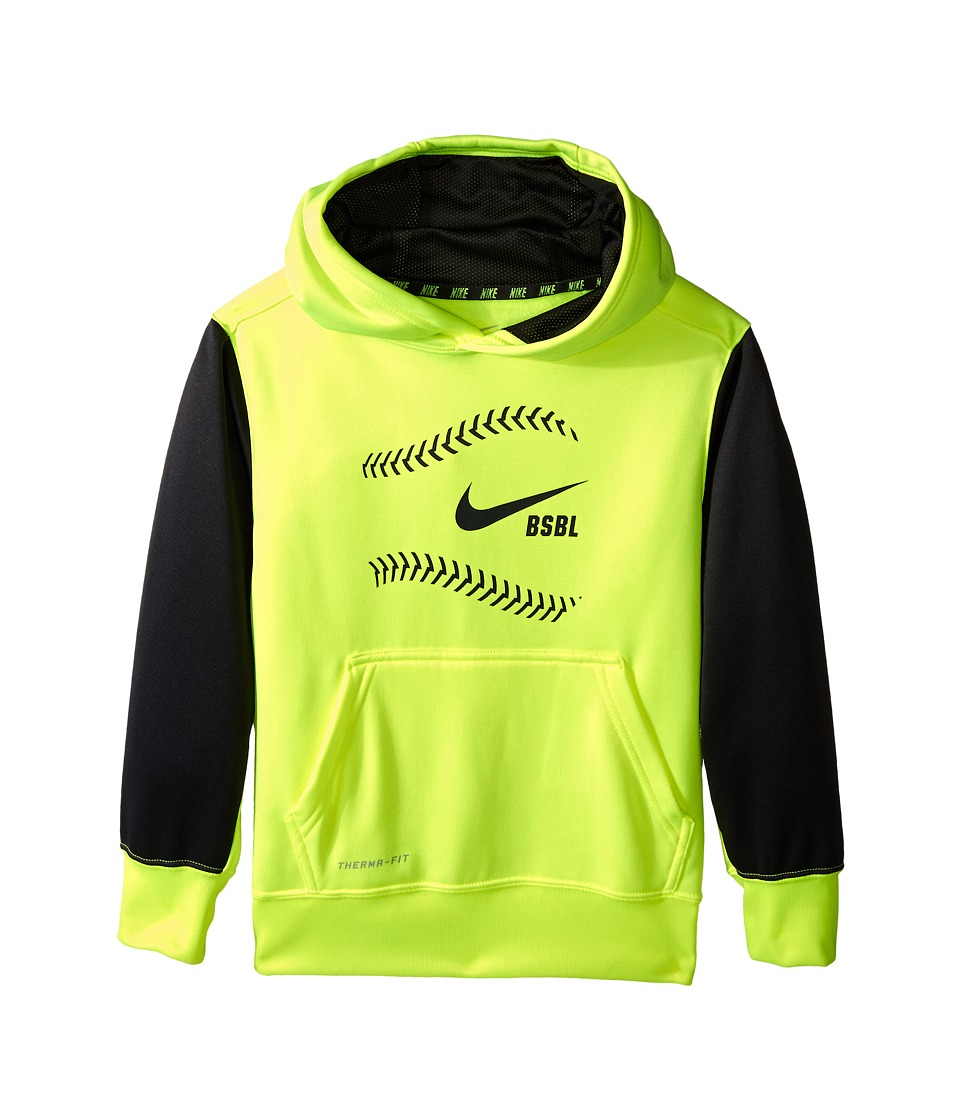 Nike Kids - KO Baseball Hoodie (Little Kids/Big Kids) (Volt/Anthracite/Anthracite) Boy's Sweatshirt
