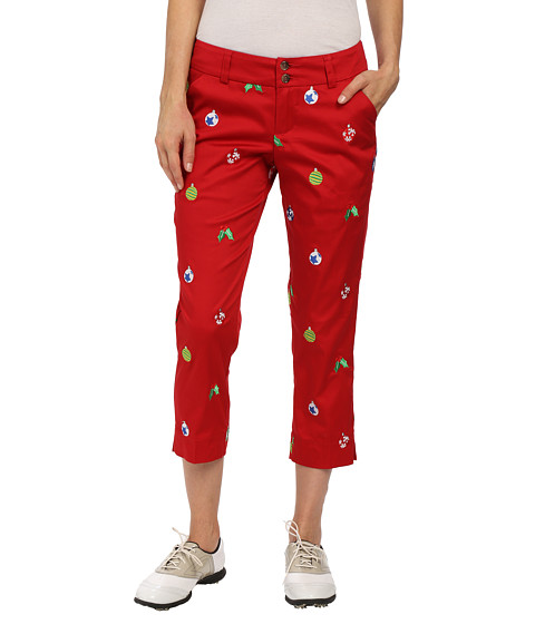 Loudmouth Golf - Deck the Halls Capris (Christmas Red) Women's Capri