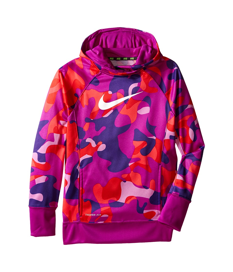 Nike Kids - KO 3.0 Allover Print Pullover Training Hoodie (Little Kids/Big Kids) (Court Purple/Vivid Purple/White) Girl's Sweatshirt