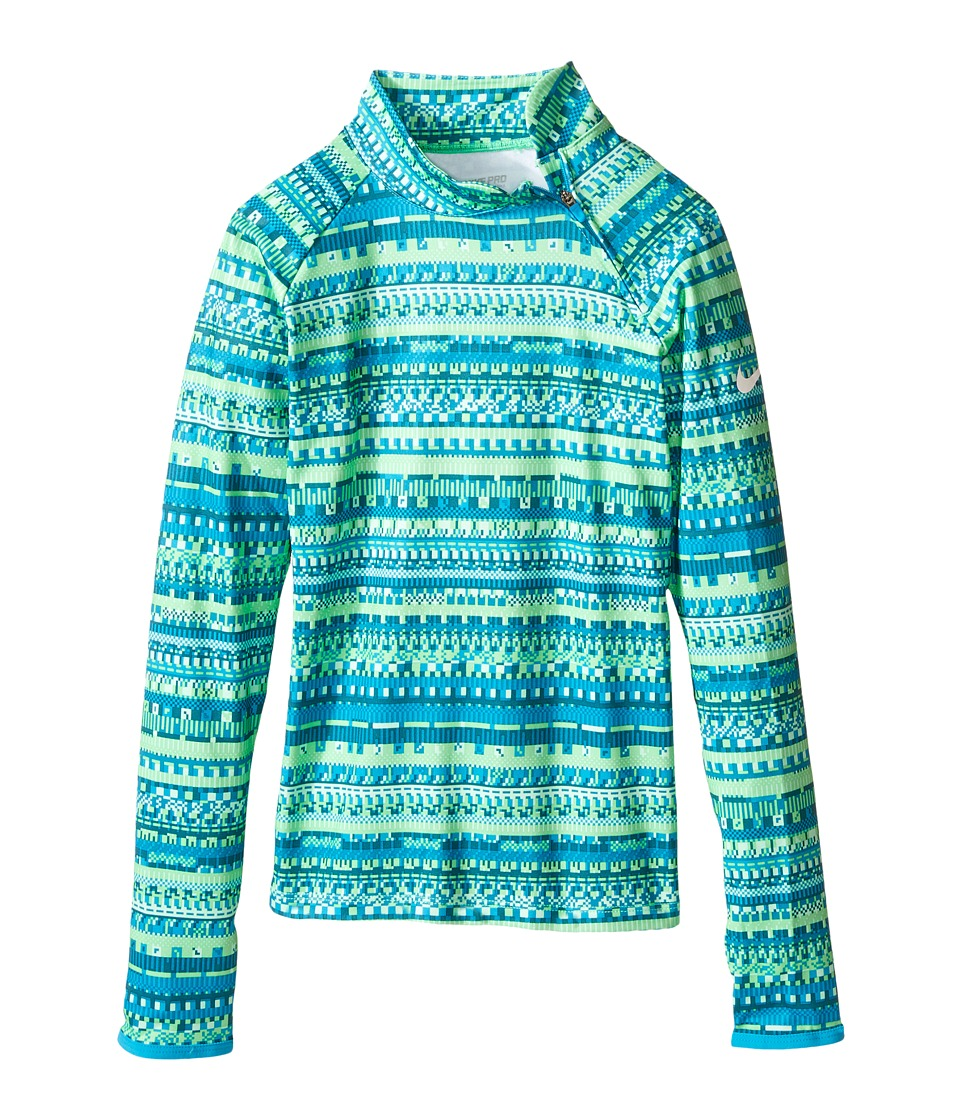 Nike Kids - Pro Hyperwarm Flash Mock (Little Kids/Big Kids) (Electro Green/Blue Lagoon/White) Girl's Long Sleeve Pullover