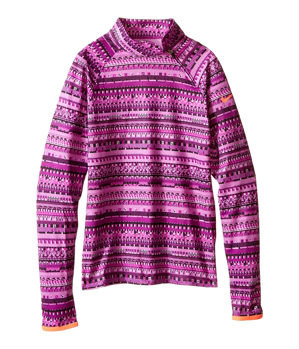 Nike Kids - Pro Hyperwarm Flash Mock (Little Kids/Big Kids) (Vivid Purple/Hot Lava/Black/Hot Lava) Girl's Long Sleeve Pullover