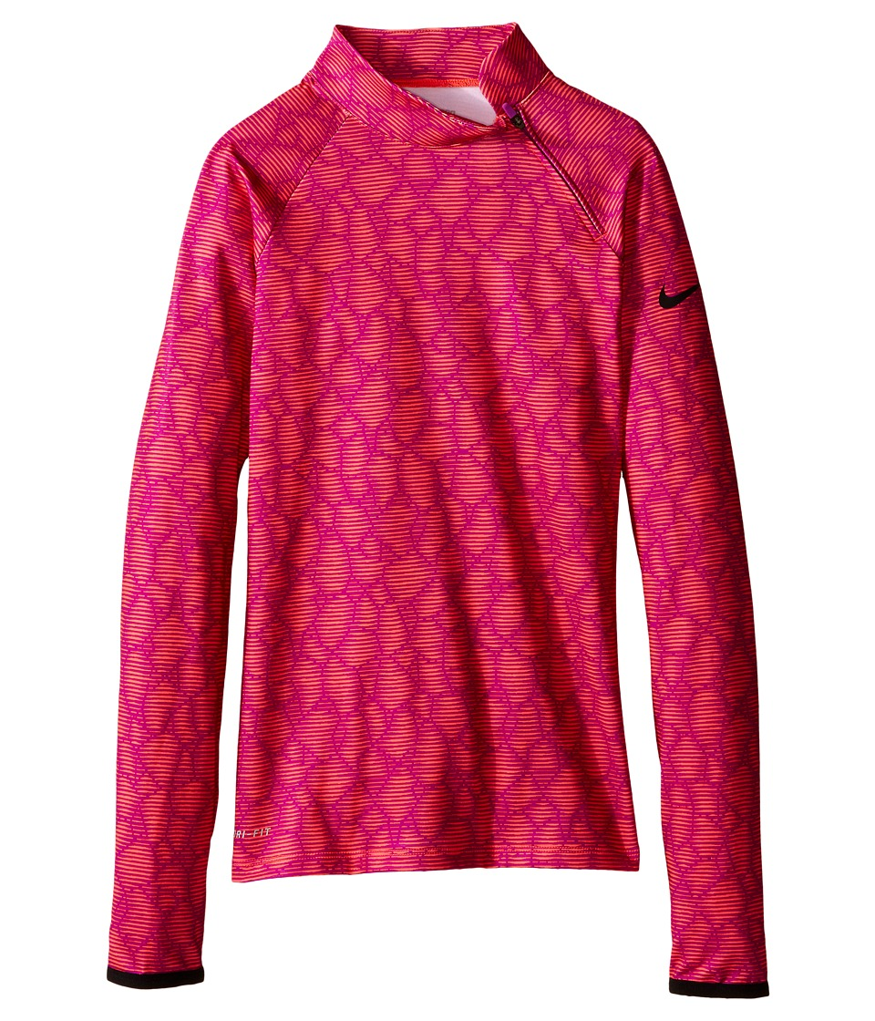 Nike Kids - Pro Hyperwarm Flash Mock (Little Kids/Big Kids) (Bright Crimson/Black/Vivid Purple/Black) Girl's Long Sleeve Pullover