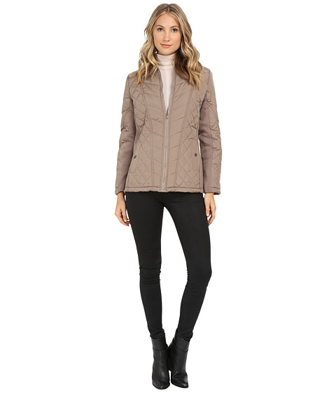 KC Collections - Mix Media Diamond Quilt Jacket (Oatmeal) Women's Coat