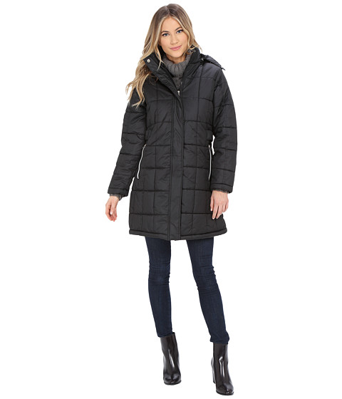 KC Collections - Box Quilt Puffer (Black) Women