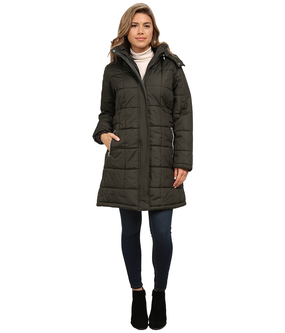 KC Collections - Box Quilt Puffer (Dark Moss) Women's Coat