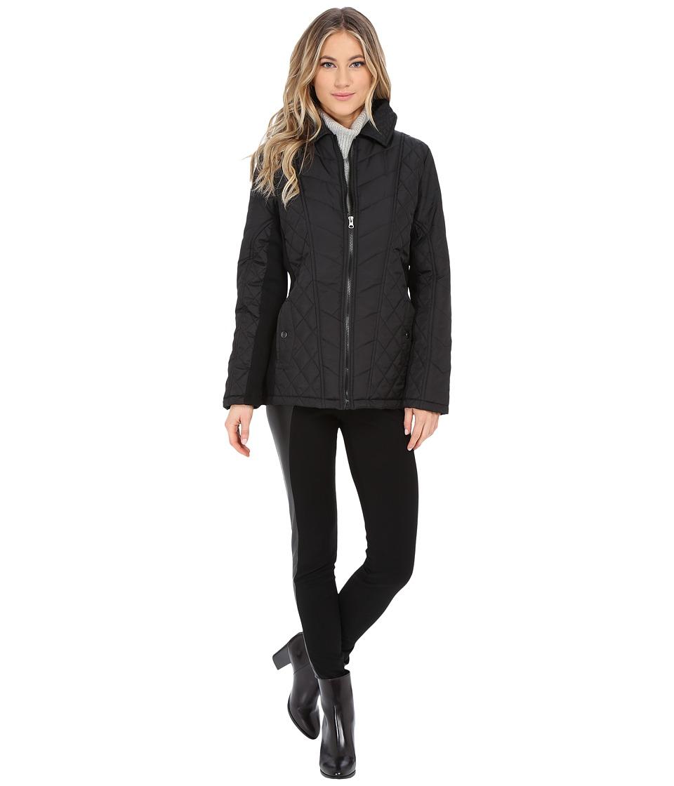 KC Collections - Mix Media Diamond Quilt Jacket (Black) Women's Coat