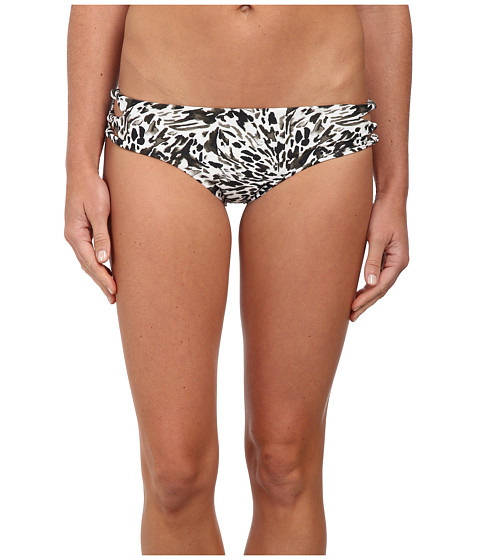 MIKOH SWIMWEAR - Hanalei Cutout Knot Detail Boyshort Bottom (Leopard Shark Night) Women's Swimwear
