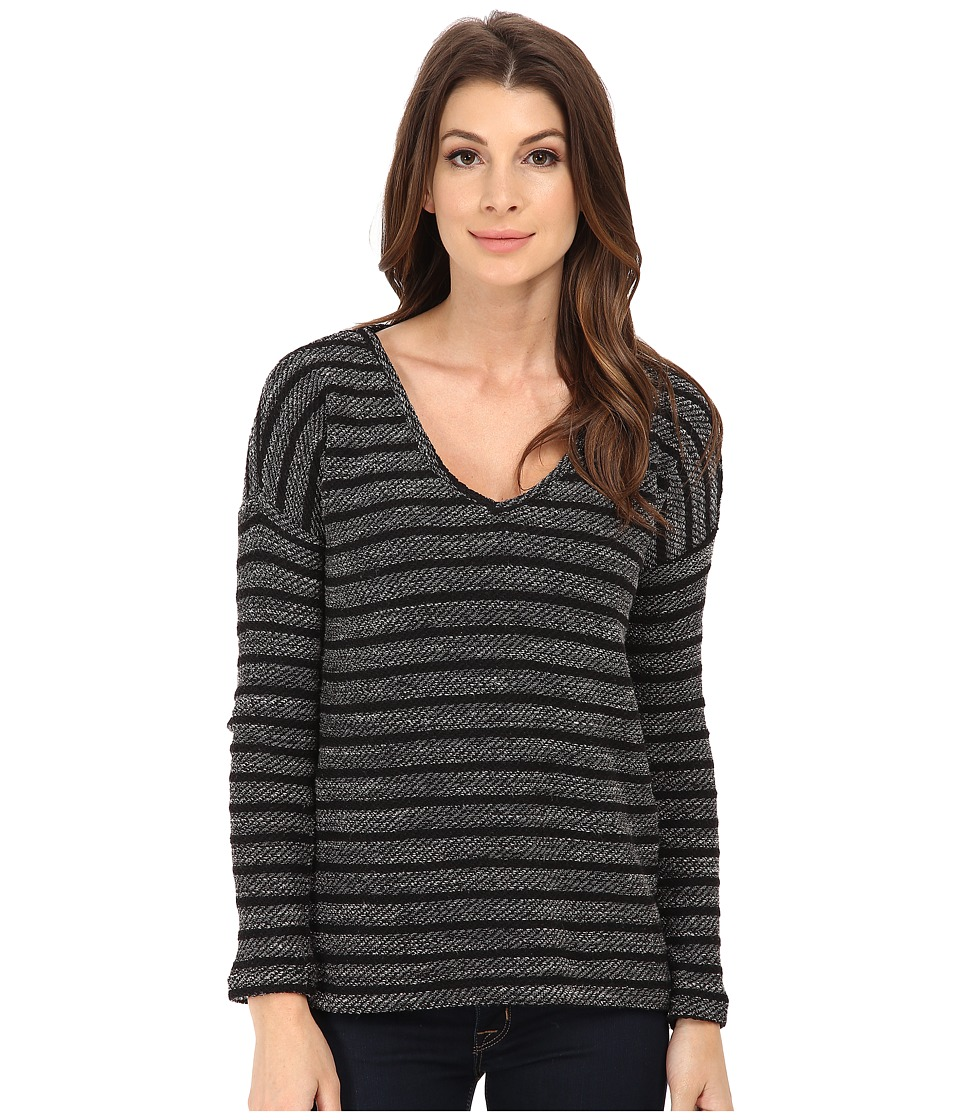 Paige - Martine Top (Black/Black Stripe) Women's Long Sleeve Pullover