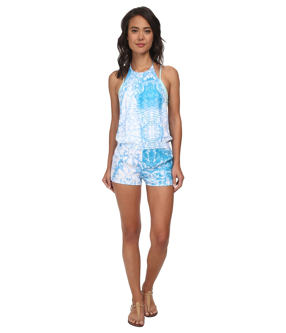 MIKOH SWIMWEAR - Takaroa High Neck Halter Short Romper Cover-Up (Whitewater Oceanic) Women's Jumpsuit & Rompers One Piece
