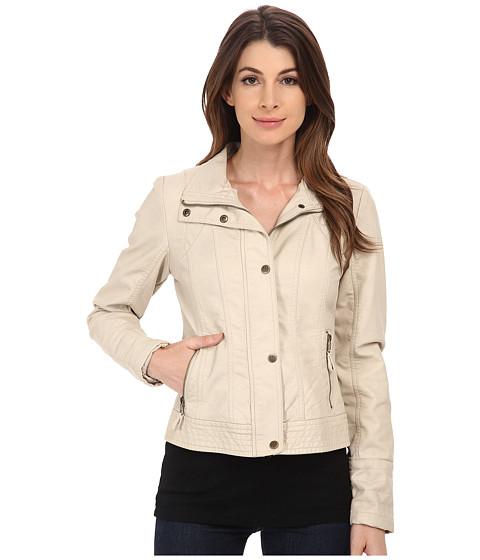Jessica Simpson - Placket Front Centerfront Zip Faux Leather (Stone) Women's Coat