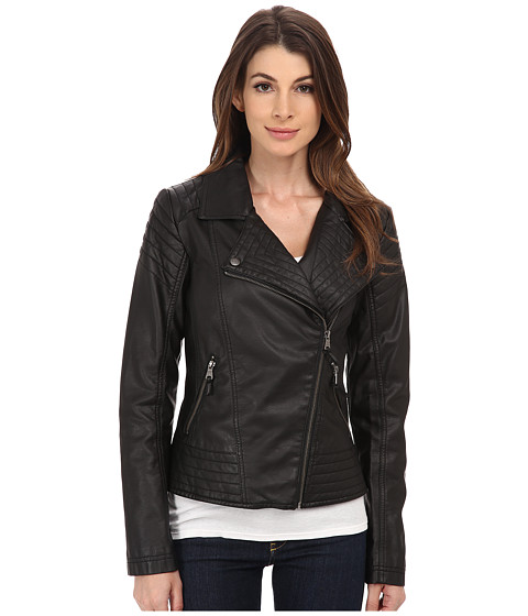 Jessica Simpson - Moto Faux Leather with Stich Detail (Black) Women's Coat