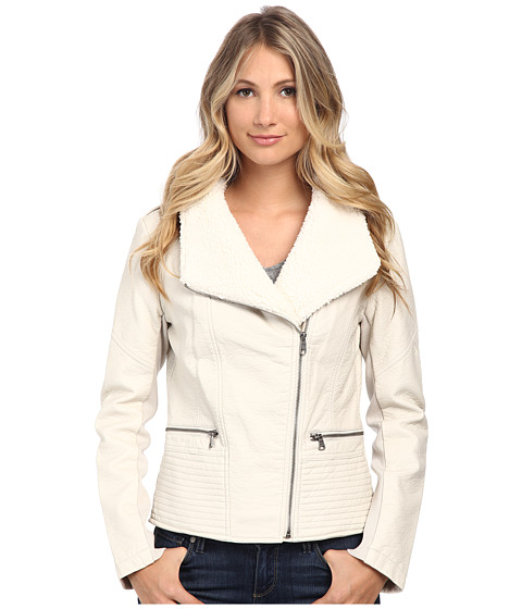 Jessica Simpson - Moto with Sherpa Collar (Stone) Women's Coat
