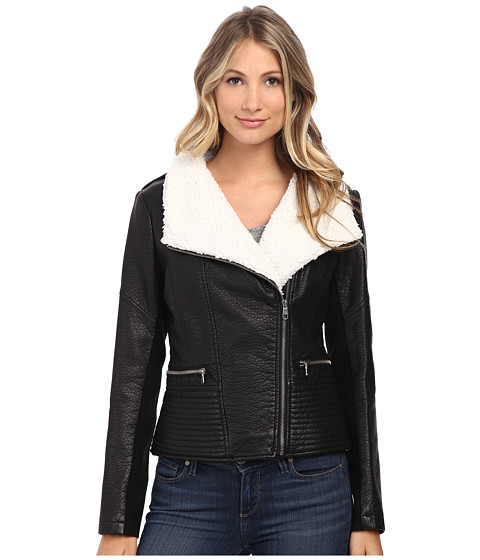 Jessica Simpson - Moto with Sherpa Collar (Black) Women
