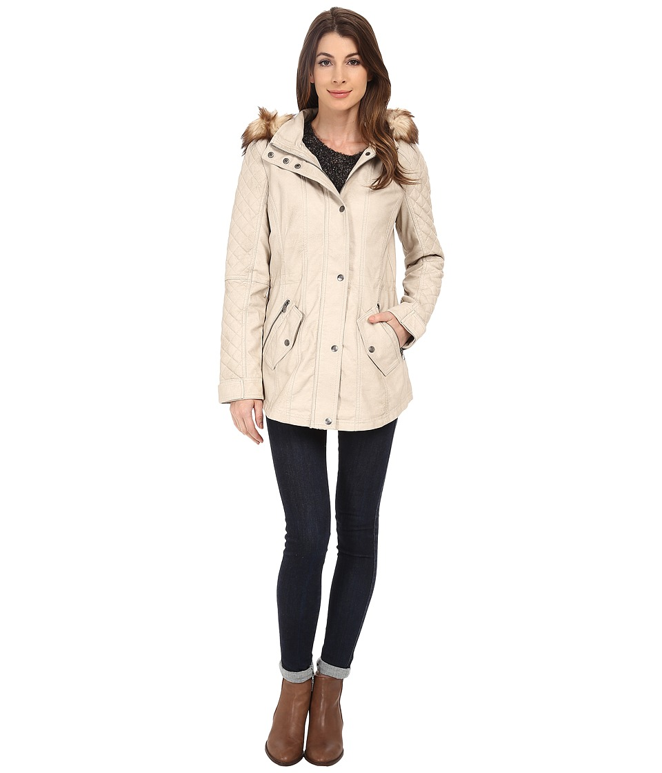 Jessica Simpson - Faux Leather Anorak with Faux Fur Hood (Stone) Women's Coat