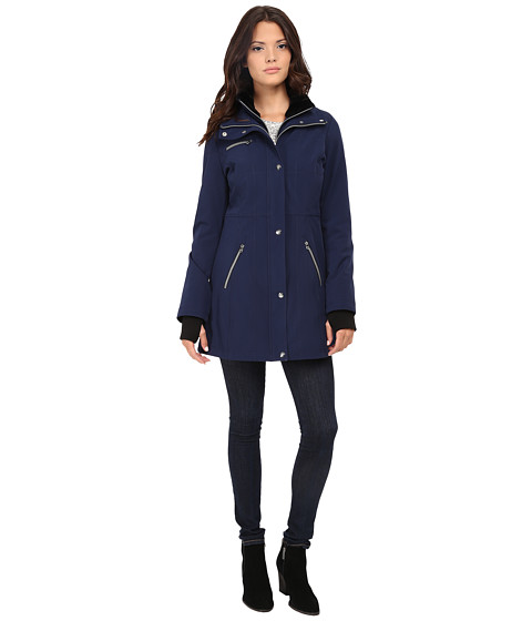Jessica Simpson - Long Soft Shell with Bib (Navy) Women's Coat
