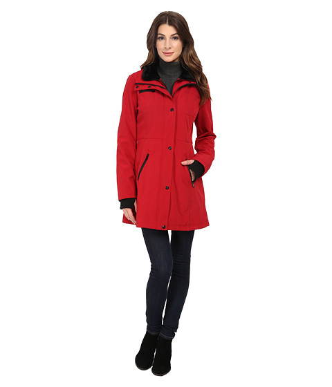 Jessica Simpson - Long Soft Shell with Bib (Red) Women's Coat