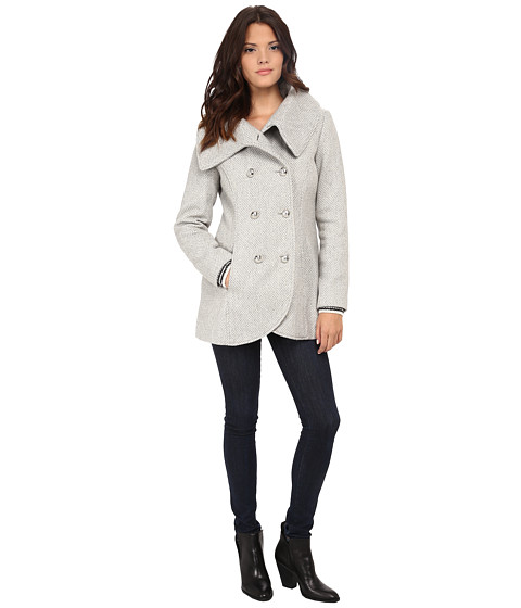 Jessica Simpson - Double Breasted Envelope Collar Wool (Grey) Women's Coat