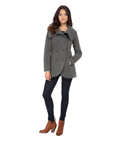 Jessica Simpson - Double Breasted Envelope Collar Wool (Charcoal) Women's Coat