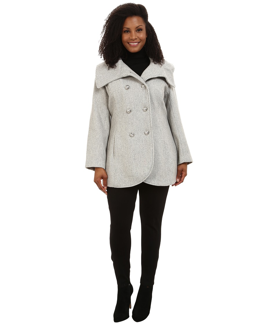 Jessica Simpson - Plus Size Double Breasted Envelope Collar Wool (Grey) Women's Coat